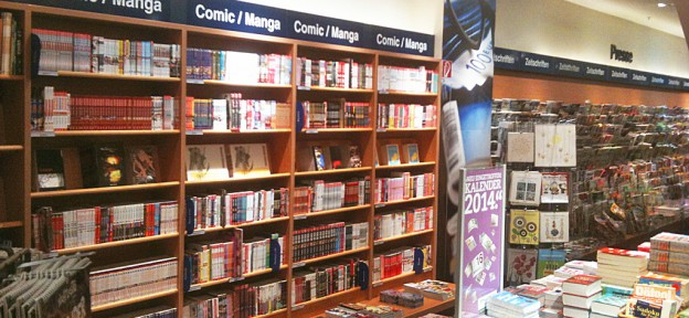 Manga on German shop shelves